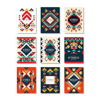 민족 패턴 카드 템플릿의 컬렉션입니다. 기하학적 형태와 추상. 안내 책자, 표지, 전단지 또는 포스터를위한 다채로운 요소
