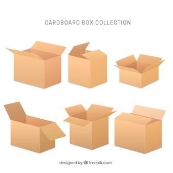 현실적인 스타일의 골 판지 상자 모음