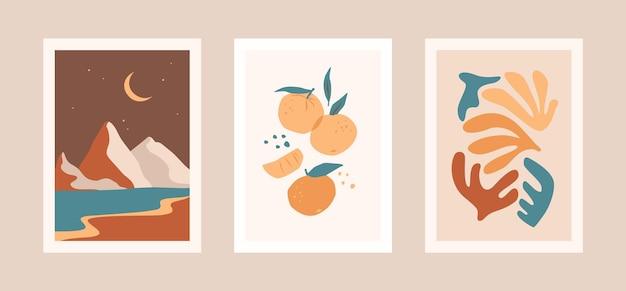 잎, 과일 및 풍경 카드 컬렉션