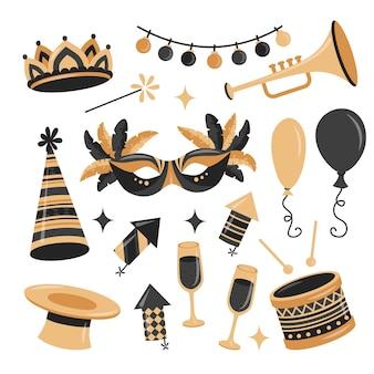 Коллекция карнавальных элементов в плоском стиле с золотыми и черными цветами