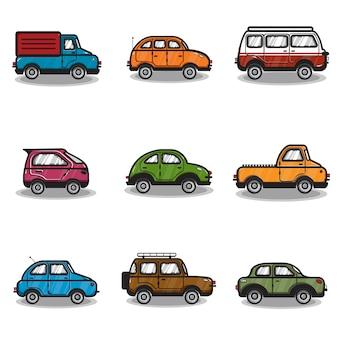 車やトラックのコレクションのイラスト