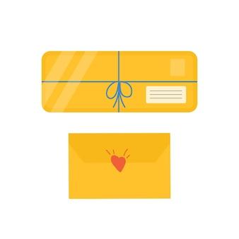 配達アイコン用の粘着テープ付きカートンパッケージのコレクション。郵便の手紙、オンライン配達サービスの概念のための封筒のセット。ベクター