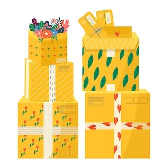 配達アイコン用の粘着テープ付きカートンパッケージのコレクション。郵便小包、パック、箱、手紙、封筒のセット。オンライン配達サービスのコンセプトのために小包を手に持っている宅配便。ベクター