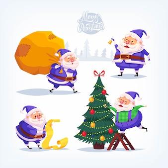 Коллекция мультфильмов синий костюм иконы санта-клауса. рождественская иллюстрация