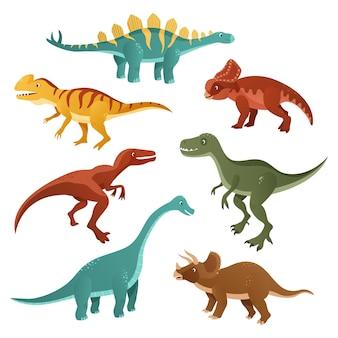 Коллекция мультяшных динозавров разных видов.