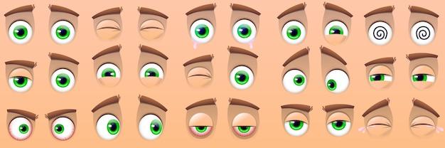 ベージュで分離された漫画の目の表現のコレクション