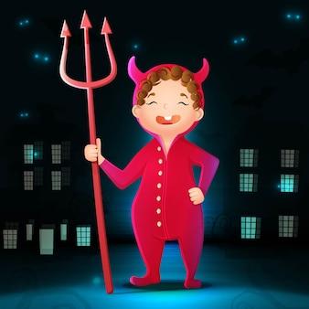 Коллекция мультфильма хэллоуина дьявола с темным фоном города, летучими мышами и светом в темноте.