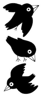 漫画のワタリガラスのコレクション。かわいい鳥がセットされています。手描きのグラフィックベクトルイラスト。白で隔離のシンプルなフラット図面。デザインの要素。