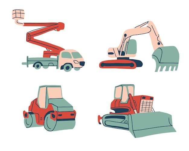 漫画スタイルの特別な車のコレクションクレーントラック掘削機ロードローラーとブルドーザー