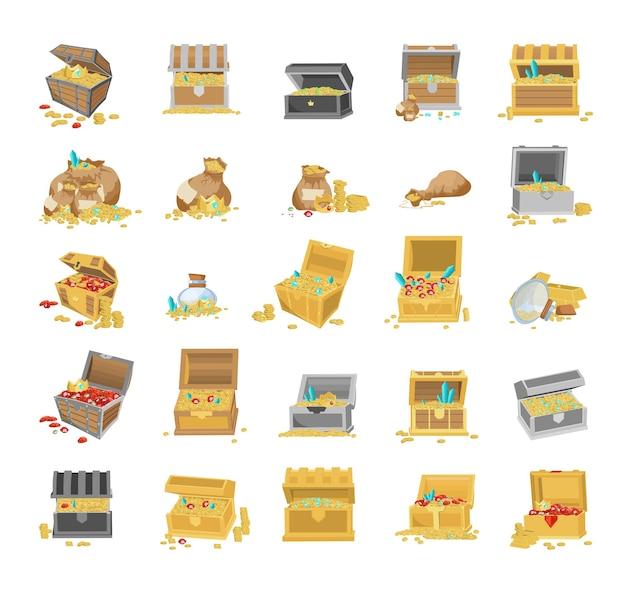 Коллекция мультяшных сундуков с сокровищами