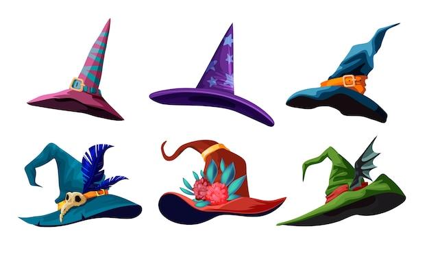 あなたのハロウィーンのデザインのための漫画の魔女の帽子のコレクション。さまざまな種類の魔法の帽子のイラスト。