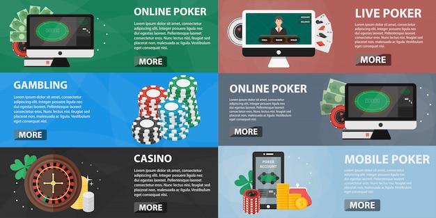 装飾やウェブサイトのためのカジノバナーのコレクション。オンラインのポーカー、スロットマシン、ギャンブルの概念。カジノ機器とフラットなデザインの要素のセット。