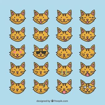 Коллекция кошек смайликов в плоском дизайне