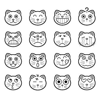 猫の顔のアイコンのコレクション多くの感情を持つかわいいデザイン