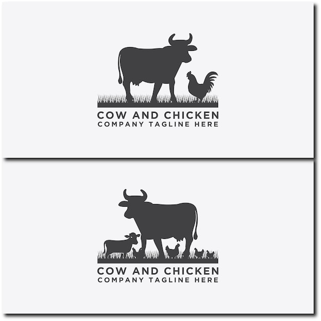牛のロゴのベクトルのコレクション牛と鶏のデザイン