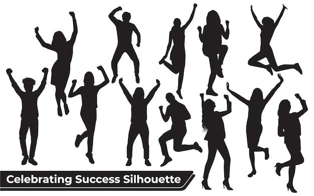 さまざまな位置で成功を祝うシルエットのコレクション