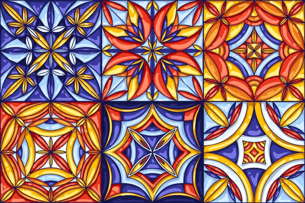 セラミックタイルパターンのコレクション。装飾的な抽象的な背景。伝統的な華やかなメキシコのタラベラ、ポルトガルのアズレージョ、またはスペインのマジョリカ。シームレス。