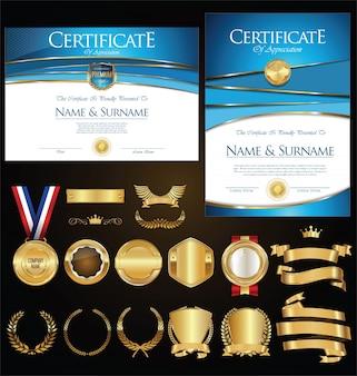 証明書バッジのコレクションは、盾と月桂