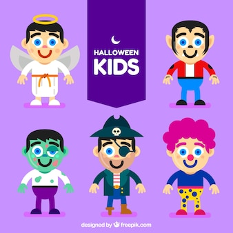 平らなデザインで偽装されたキャラクターの集まりハロウィーン