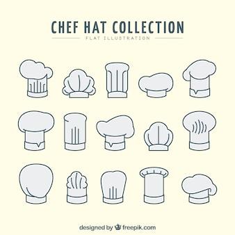 평면 디자인에 요리사 모자 컬렉션