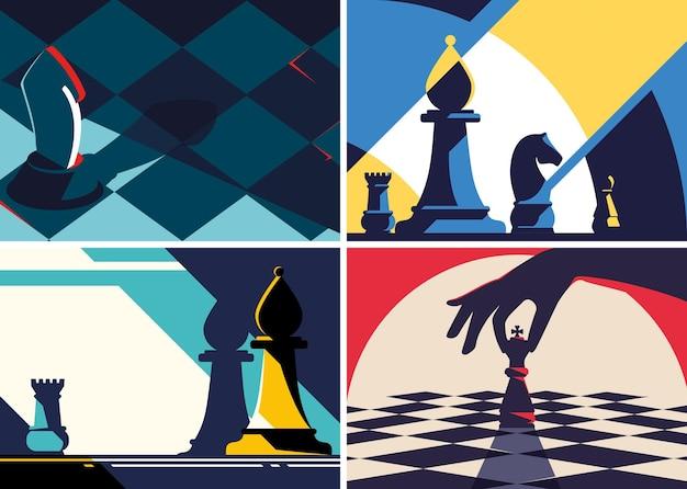 Коллекция шахматных шаблонов в плоском дизайне.