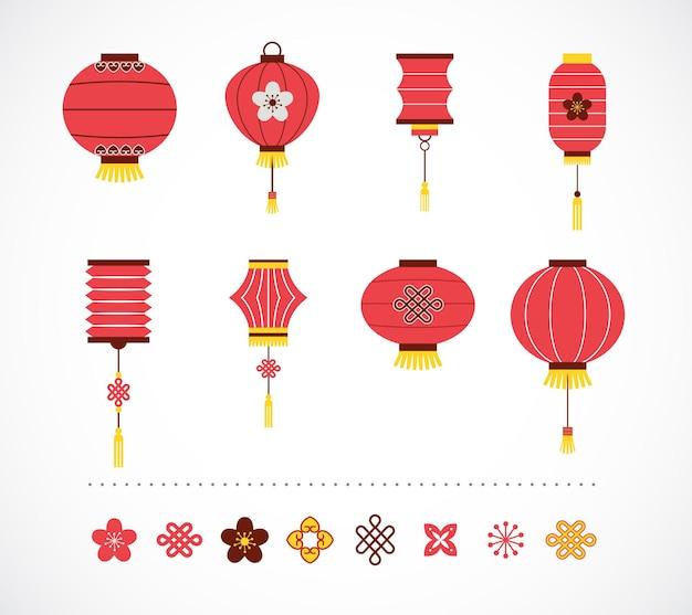 中国の赤い提灯と要素のコレクション