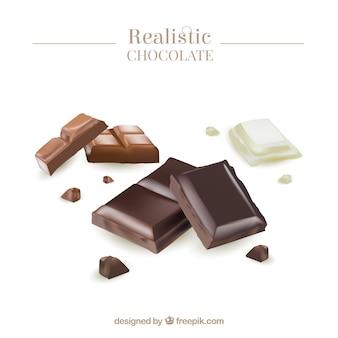 Коллекция шоколадных батончиков в реалистичном стиле