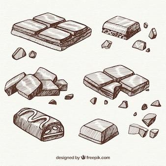 Коллекция шоколадных батончиков в эскизном стиле