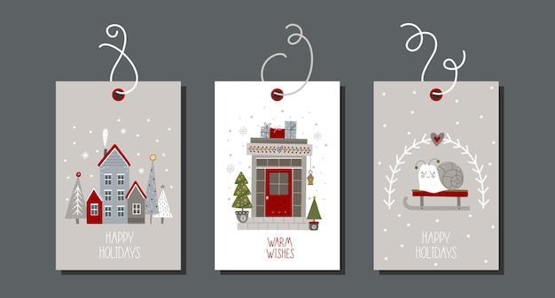 Коллекция рождественских и новогодних тегов с зимними элементами