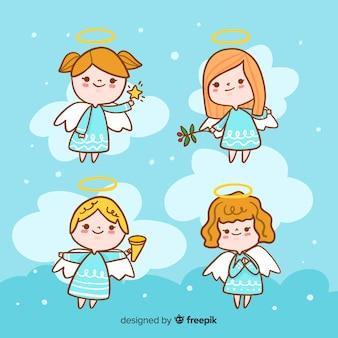 Коллекция рождественских ангелов рисованной стиль
