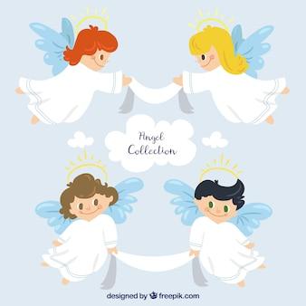 Коллекция рождественских ангелов в белых одеждах