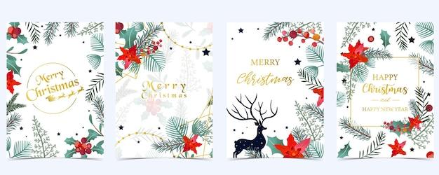 크리스마스 배경의 컬렉션 홀리 잎, 꽃, 순록으로 설정합니다. 새 해 초대장, 엽서 및 웹 사이트 배너 편집 가능한 벡터 일러스트 레이 션