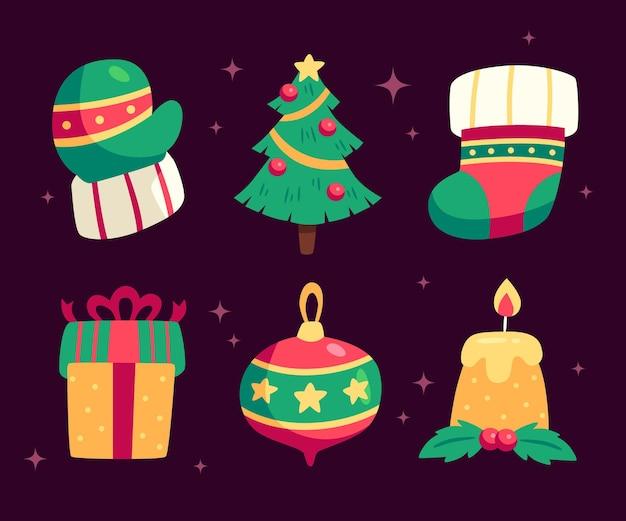 평면 디자인에 크리스마스 배지 컬렉션