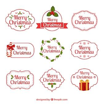 異なる形のクリスマスバッジのコレクション