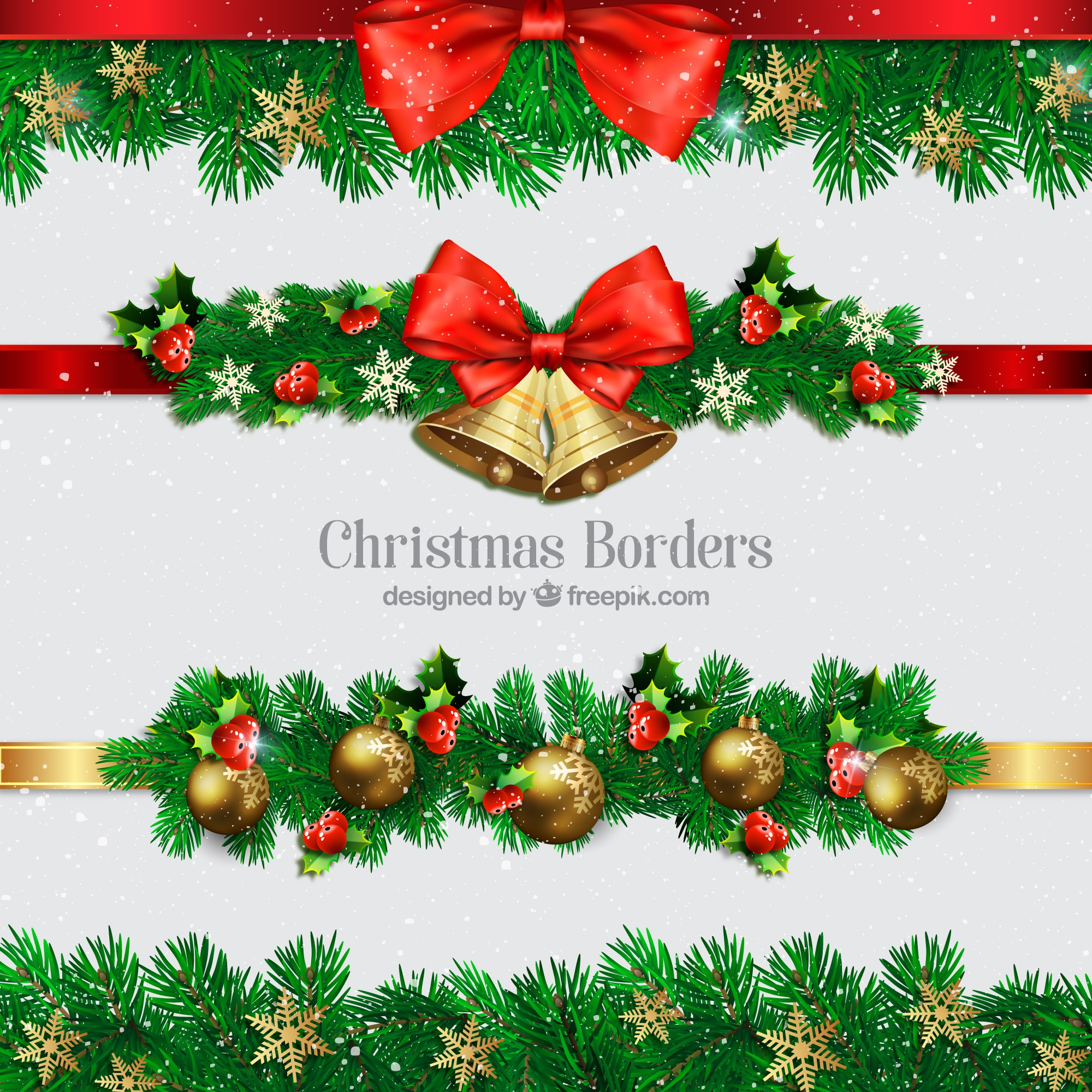 Collection of christmas borders with balls and bells