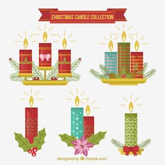 素晴らしいデザインのクリスマスキャンドルのコレクション