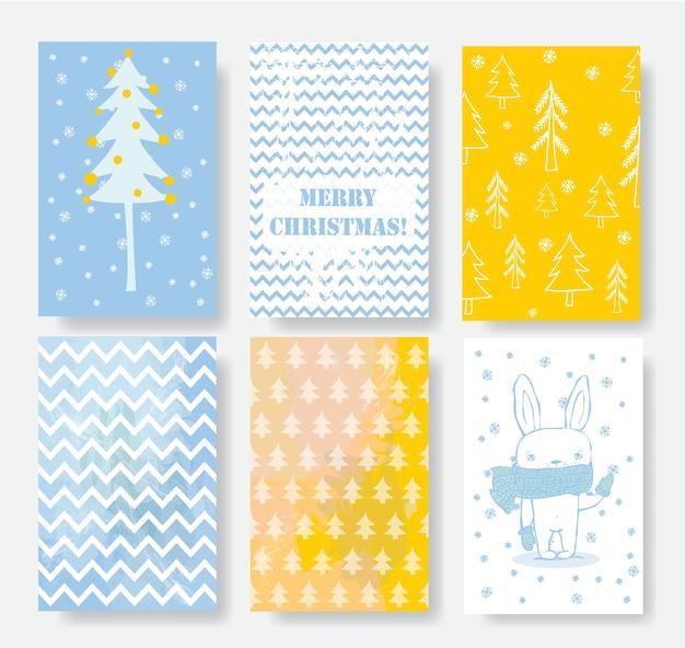고양이, 산타클로스, 곰, 고양이, 손으로 그린 인사말이 있는 크리스마스 카드 템플릿 컬렉션 메리 크리스마스