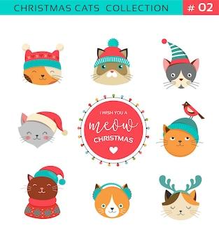 クリスマス猫のコレクション、ニットの帽子、セーター、スカーフなどのアクセサリーが付いたかわいい猫のメリークリスマスのイラスト