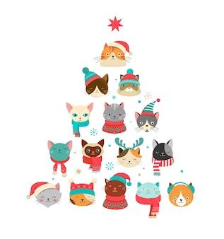 크리스마스 고양이 컬렉션, knited 모자, 스웨터, 스카프와 같은 액세서리와 함께 귀여운 고양이의 메리 크리스마스 삽화
