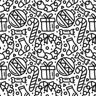 アイコンとデザイン要素を持つクリスマスの日のパターンのコレクション