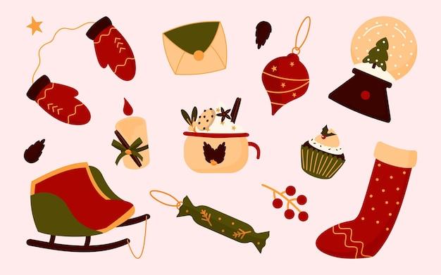 평면 스타일에서 크리스마스 요소의 컬렉션입니다. 스타킹, 장갑, 눈 덮인 공, 찻잔에 전나무 트리. 전통적인 축하 액세서리.