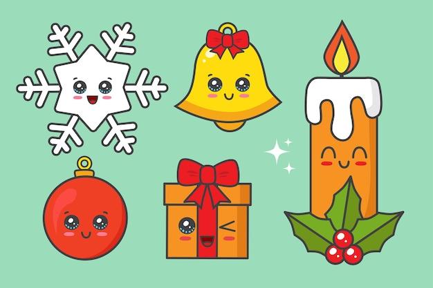 그린에 고립 된 크리스마스 요소 컬렉션