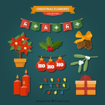 Collection of christmas elements in flat design