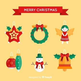 평면 디자인에 크리스마스 요소의 컬렉션