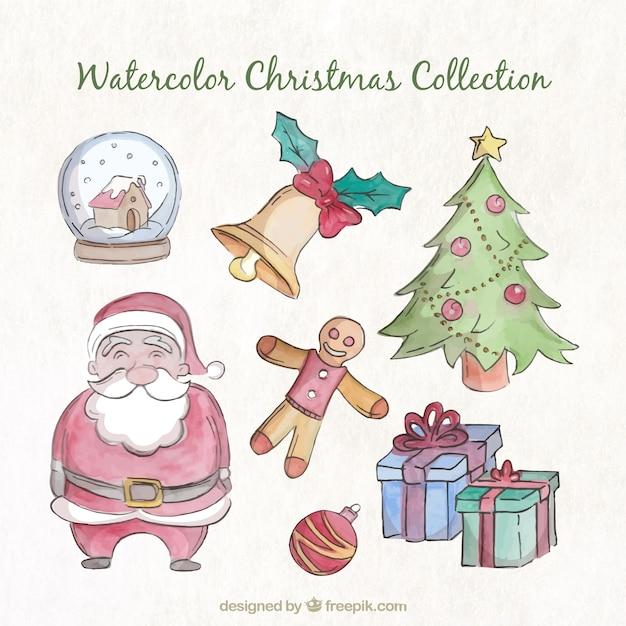 水彩画効果のクリスマスの要素のコレクション