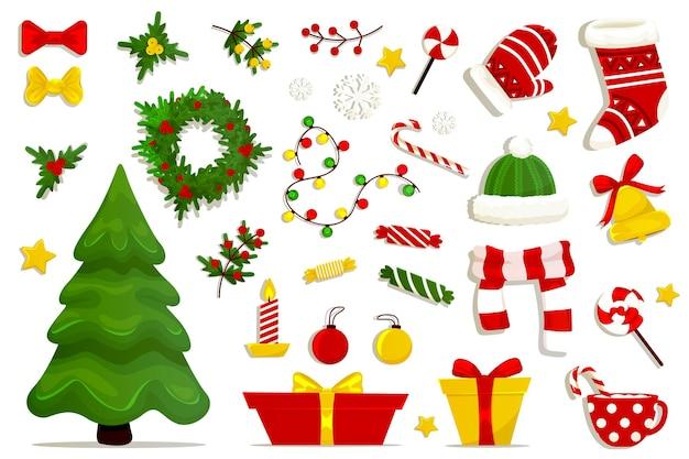 白で隔離のクリスマス要素のコレクション