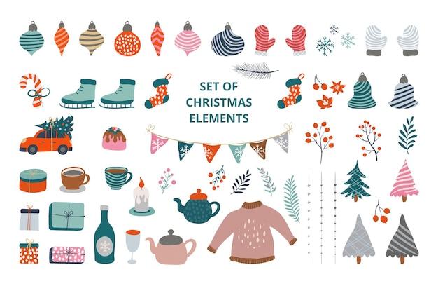 흰색 절연 크리스마스 요소 컬렉션