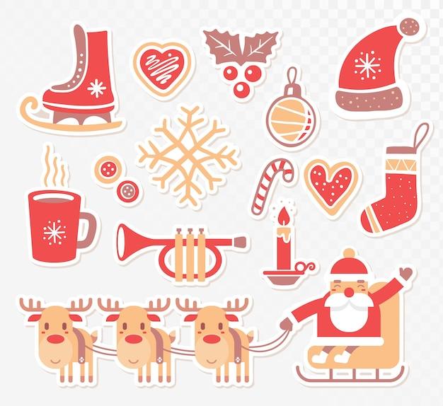 透明な背景の上のクリスマス要素のコレクション