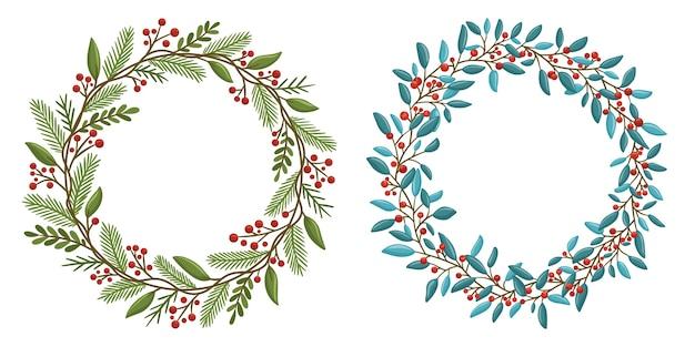クリスマスの花の花輪のコレクション
