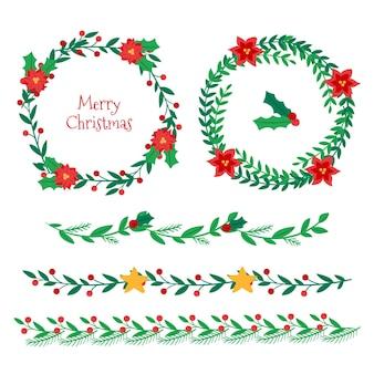 Коллекция рождественских рамок и бордюров